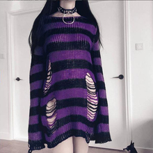 Rosetic Gothic Sweater Women Long Pullover Striped Loose Befree Winter Jackets Hole Sweaters Knitted Jumpers Sweter Mujer jersey