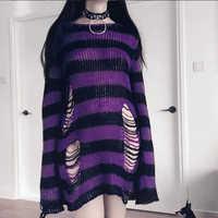 Rosetic Gothic Sweter kobiety długi Sweter w paski luźne Befree zimowe kurtki dziura swetry dzianinowe swetry Sweter Mujer jersey