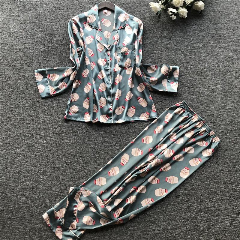 2019 Sleep Lounge Women Thin Pajamas Set Silk Satin Sleepwear Long Sleeve Spring Summer Pyjama Flower Print Pijama Nightsuits