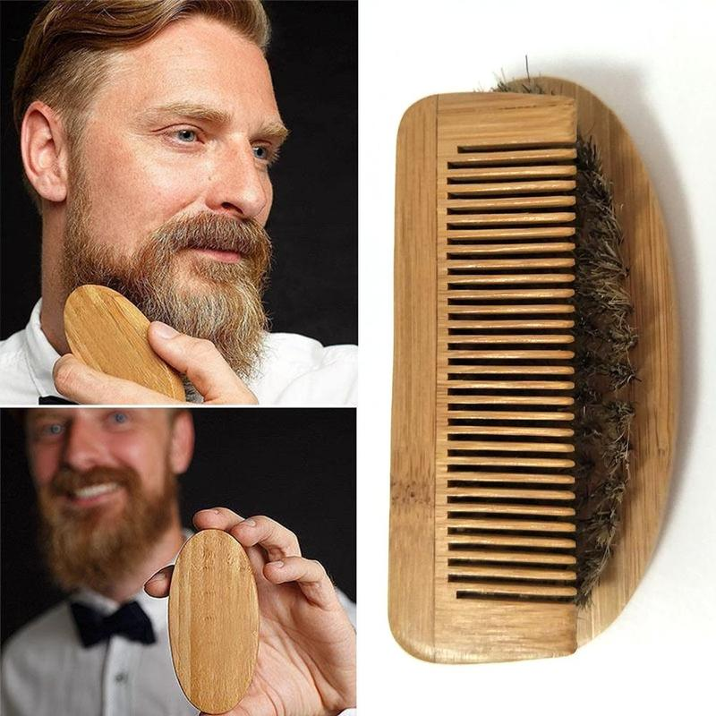 1pcs Beard Brush Boar Comb Bristle For Men's Mustache With Shaving Comb Face Massage Facial Hair Cleaning Brush Beech Comb