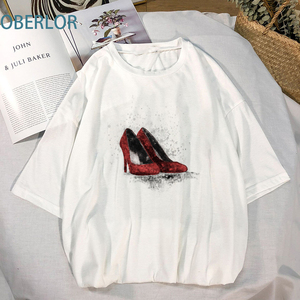High Quality Women's Red Shoes High Heels T-Shirt Female Summer Brand New Shirts Vogue Casual Graphic Tops & Tees Women's Tunic