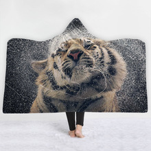 Psychedelic Animals Series Hooded Blanket Lion Tiger Wolf Printed Plush For Adults Kids Sherpa Fleece Warm Throw