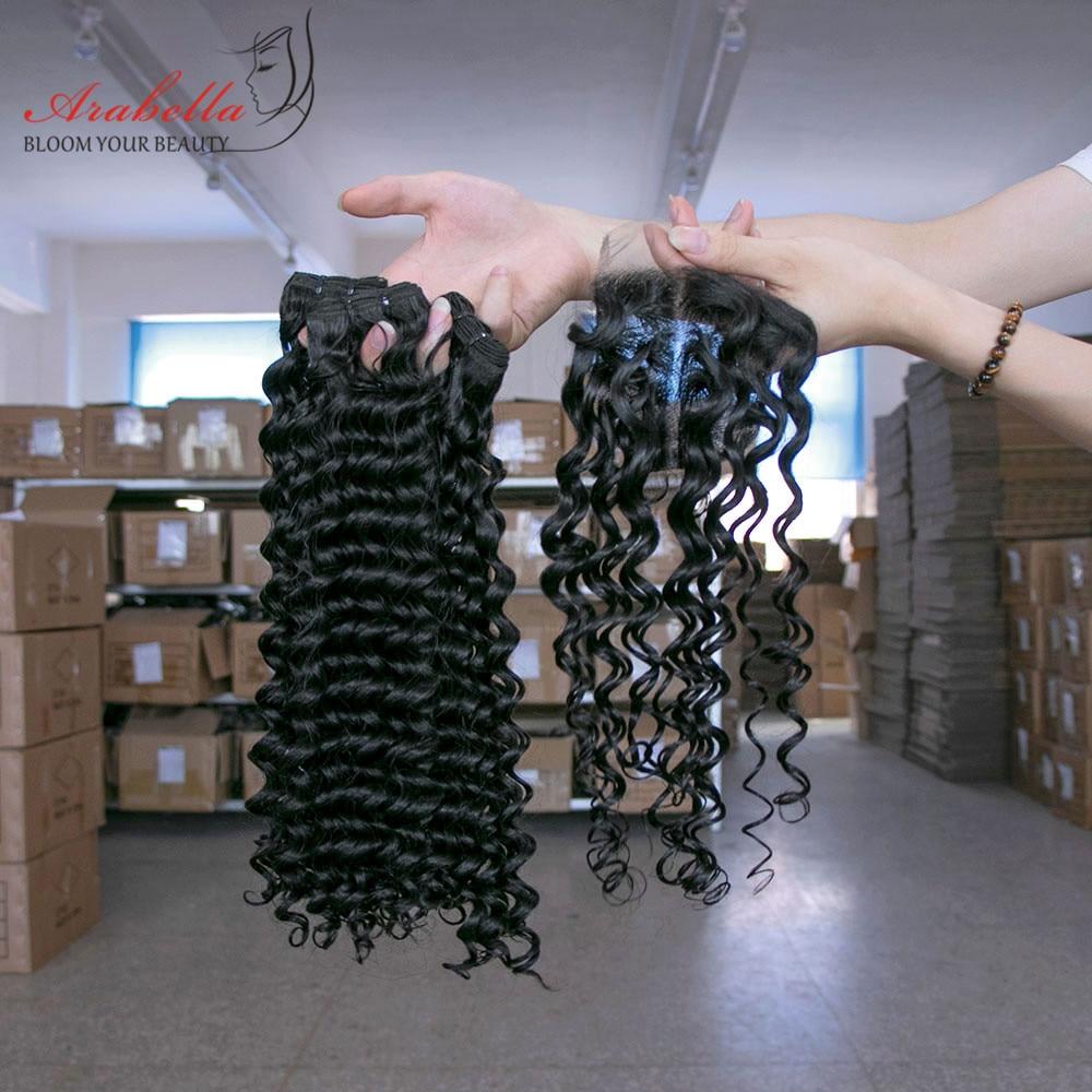 Arabella Supper Double Drawn Deep Wave Hair Bundles With Lace Closure 100%   Bundles Virgin Hair  4
