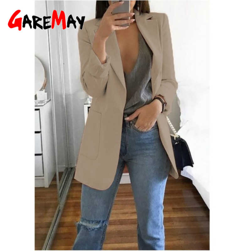 Chaqueta larga GareMay para primavera y otoño, chaqueta ajustada para mujer, chaqueta de oficina para mujer, chaqueta de trabajo, chaqueta Casual Coreana de moda para mujer