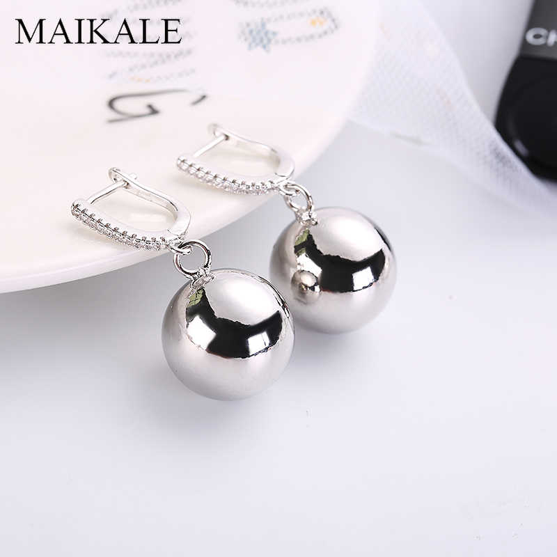 MAIKALE Classic Drop Earrings Big Round Ball Pendant Gold Silver Color Copper Cubic Zirconia Fashion Jewelry Women Earrings Gift