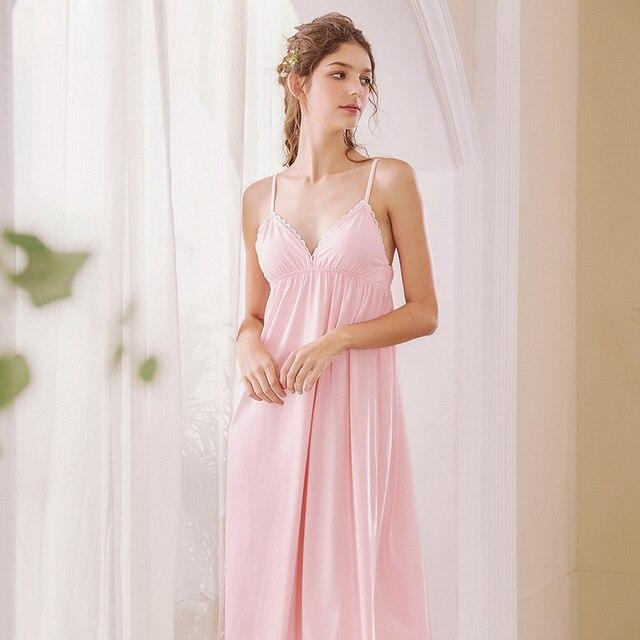 Roseheart Nữ Thời Trang Trắng Bông Màu Hồng Gợi Cảm Đồ Ngủ Cổ V Váy Ngủ Váy Ngủ Nữ Ren Váy Ngủ Đồ Ngủ Ban Đêm