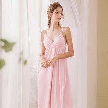 Roseheart Women Fashion White Pink Cotton Sexy Sleepwear V Neck  Nightdress Lace Nightwear Nightgown Sleepwear Night