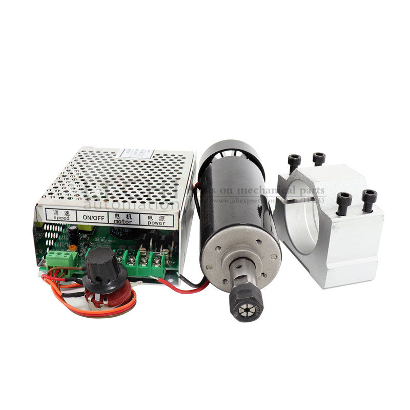 Image 3 - Free shipping 0.5kw Air cooled spindle ER11 chuck CNC 500W Spindle Motor + 52mm clamps + Power Supply speed governor For DIY CNC-in Machine Tool Spindle from Tools
