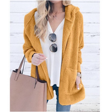 2019 Autumn Women Fashion Hooded Faux Fur Long Sleeve Warm Jacket Faux Fur Oversized Open Front Cardigan Outerwear Coat open front sennit design hooded cardigan