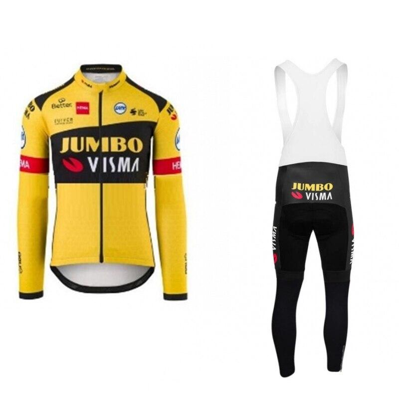 2020 printemps automne pro équipe jumbo visma manches longues cyclisme jersey ensemble mince vtt séchage rapide vélo vêtements Ropa ciclismo gel pad