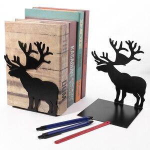 Image 4 - 2 יח\סט ספר בעל לקריאה איילים מתכת מדף ספרים תלמיד מתכת Bookend שולחן מחזיק Stand עבור ספרים ארגונית חג המולד מתנה