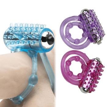 Podwójne pierścienie na penisa vibrator dla człowieka opóźnienie cockring wzmocnienie trwałe Cock ball zabawki erotyczne dla dorosłych łechtaczka stymulować naczynia masaż tanie i dobre opinie candiway Penis pierścionki