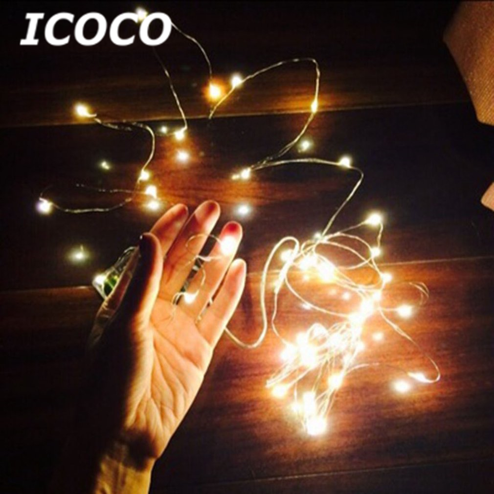 ICOCO 10M 33ft 100 Leds  AA Battery Operated Lexible LED Copper Wire String Light Party Lamps Indoor Outdoor DIY Decor Light
