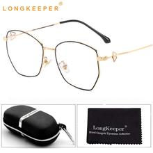LongKeeper Womens Anti Blue Light Glasses With Case Fashion Polygon Clear Lens Eyeglasses Metal Spectacle Frame Gift Set