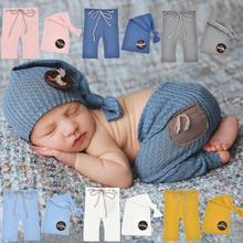 2шт% 2FSet + ребенок + фотография + костюм + лес + кнопка + декор + фотография + реквизит + мягкий + текстура + новорожденный + фотография + брюки + завязанный + шапка