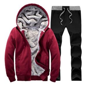 Image 3 - Men hooded Tracksuit Lined Thick Coat Sweatshirt + Pants New Sportswear Jogger Suit 2 Piece Set Brand Male Winter Sets Clothing