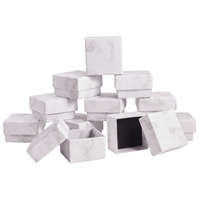 24Pcs Marbling Style Cardboard Jewelry Boxes Rectangle/Square For Necklace Bracelet Ring Earring Gift Display Storage Packaging