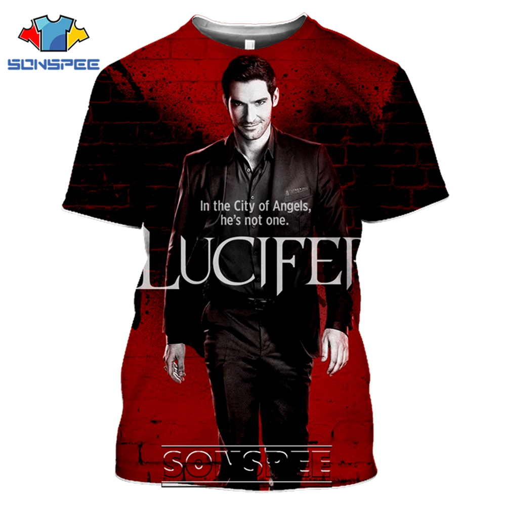 SONSPEE T-shirts Lucifer Morningstar 3D Print Men Women Casual Fashion Hip Hop Short Sleeve Streetwear Devil Tees Tops Shirt (6)