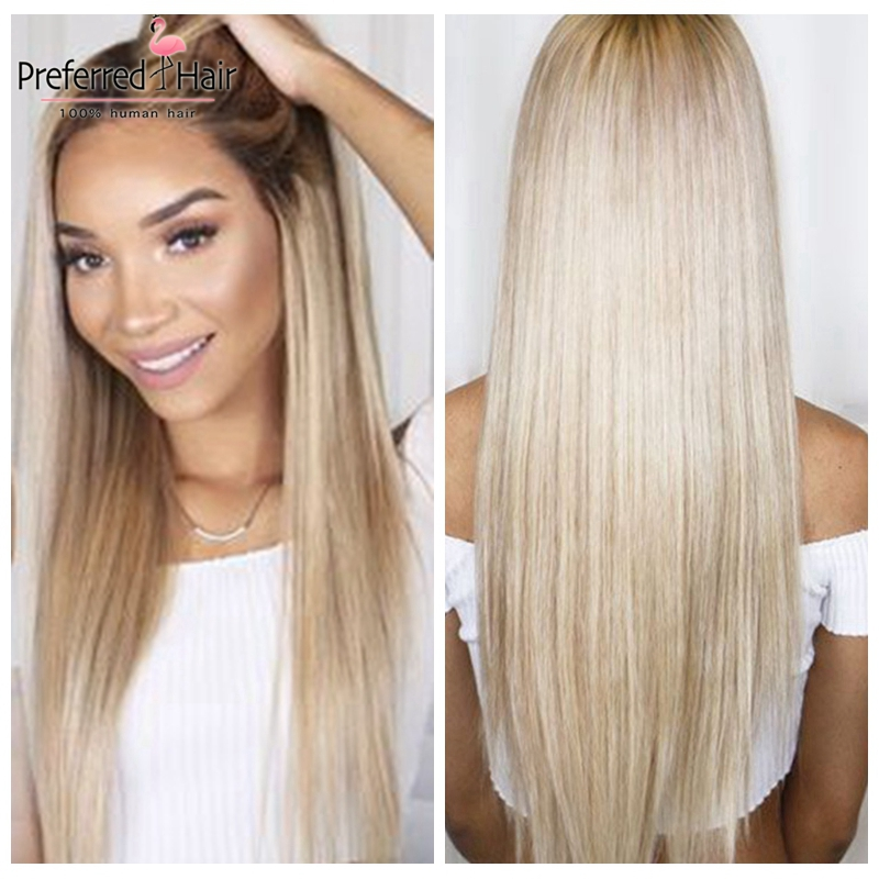 Preferred Pre Plucked Blonde 13x4 Ombre Human Hair Wig Remy Straight Wig Brazilian Transparent Lace Wigs For Black Women