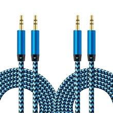 2 Pack 1m Audio auto audio kabel 3 5 MM auto AUX audio kabel 1meter männlich zu männlich record linie nylon audio kabel cheap CN (Herkunft) NONE Woven Aux Line OD 4 0mm 1 meter 12 grams 3 5 male to 3 5 public