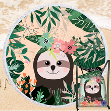 Creative Sloth Pattern Summer Beach Towel with Drawstring Bag Portable Round Microfiber Bath Towel Outdoor Travel Yoga Blanket