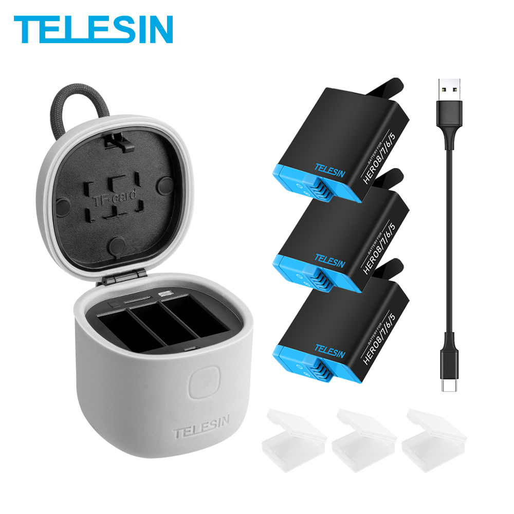 TELESIN Battery Gopro Hero Black 3-Slots charger 3PACK for 8 with Tf-Card-Reader Storage-Charging-Box