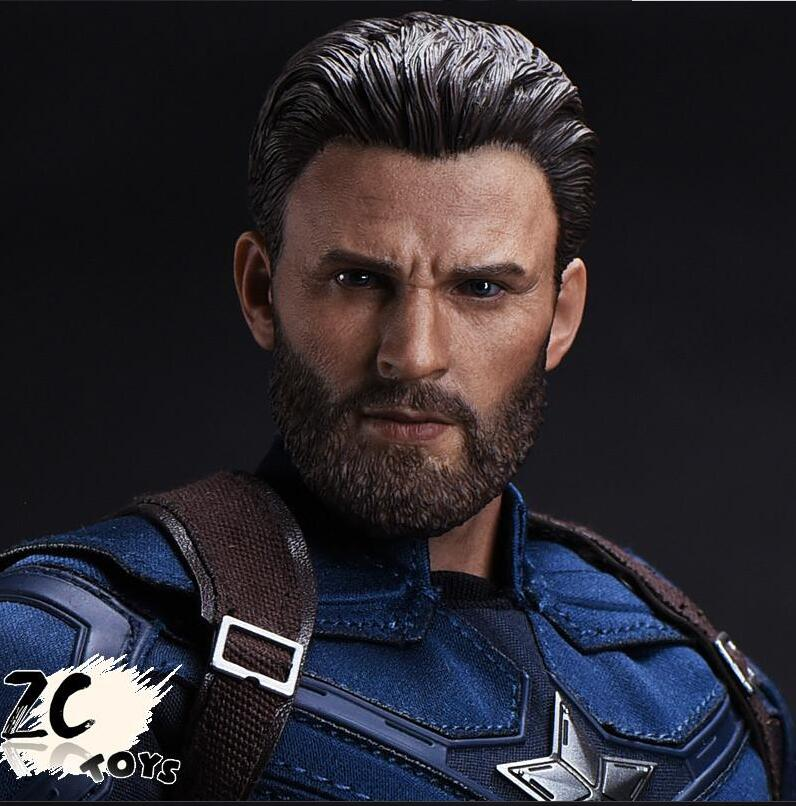 Dropshipping ZCTOYS 1/6 Captain America Head Carved Beard Chris Evans for 12'' Male HT Figure