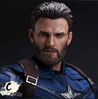 Dropshipping ZCTOYS 1/6 Captain America Head Carved Beard Chris Evans for 12'' Male HT Figure - DISCOUNT ITEM  11% OFF All Category