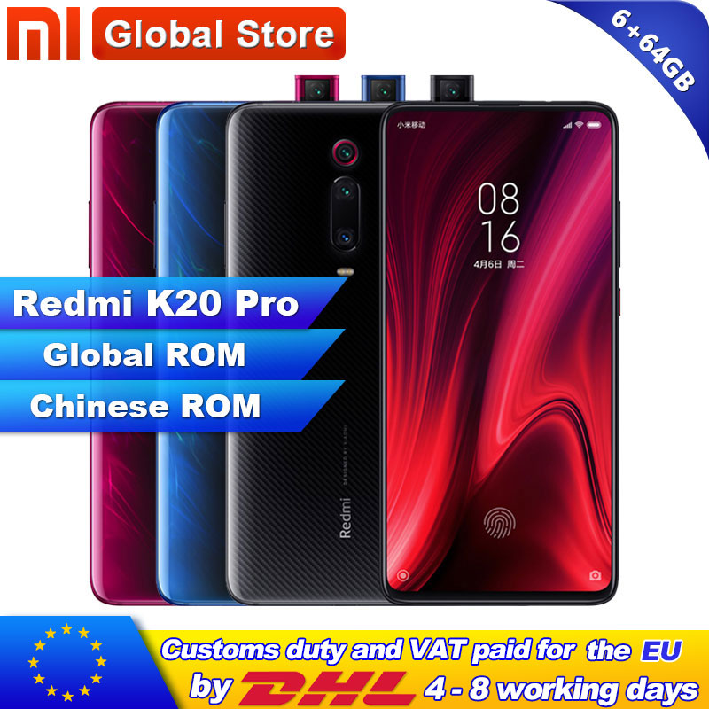 Global ROM Xiaomi Redmi K20 Pro 6GB  64GB Smartphone Snapdragon 855 Octa Core 4000mAh Pop-up Front 48MP Rear Camera AMOLED 6.39