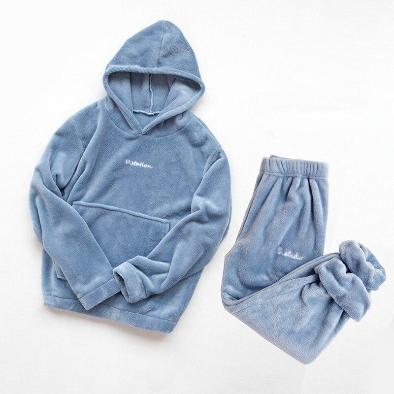 Winter Flannel Pajama Set Womens Fleece Pajamas Sleepwear Home Clothing Thick Warm Coral Velvet Female Nightgown Suit Pajama 1
