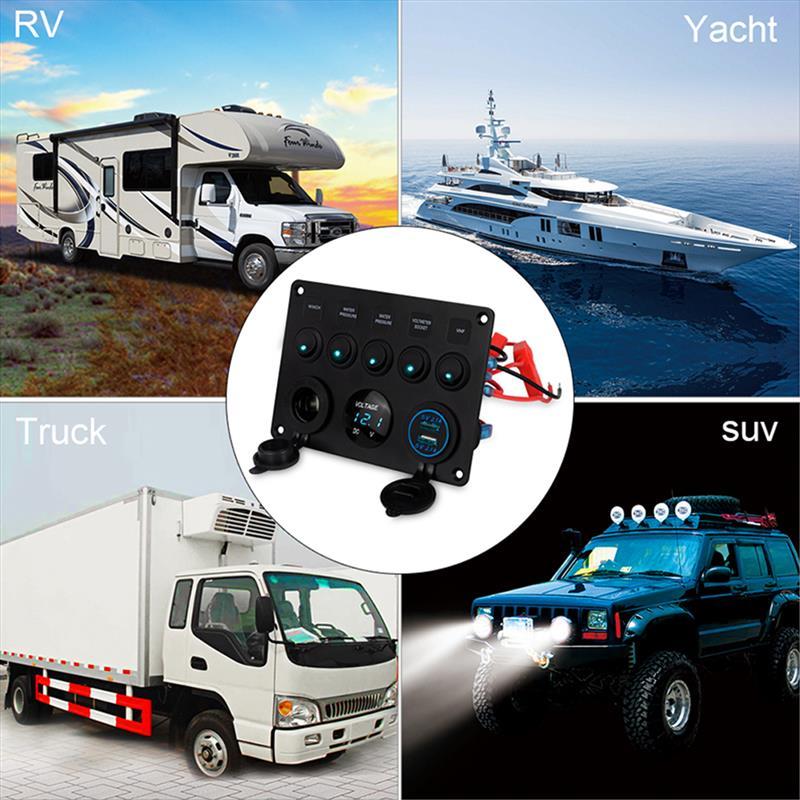 Multifunctional 5 Gang Car Marine Boat LED Rocker Switch Panel Digital Voltmeter Dual USB Port Car Ship Yacht Combination Panel