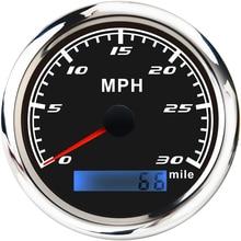 Измеритель скорости 30/60/120 миль/ч для автомобиля, лодки, яхты, морской, 85 мм, измеритель скорости из нержавеющей стали с красной подсветкой