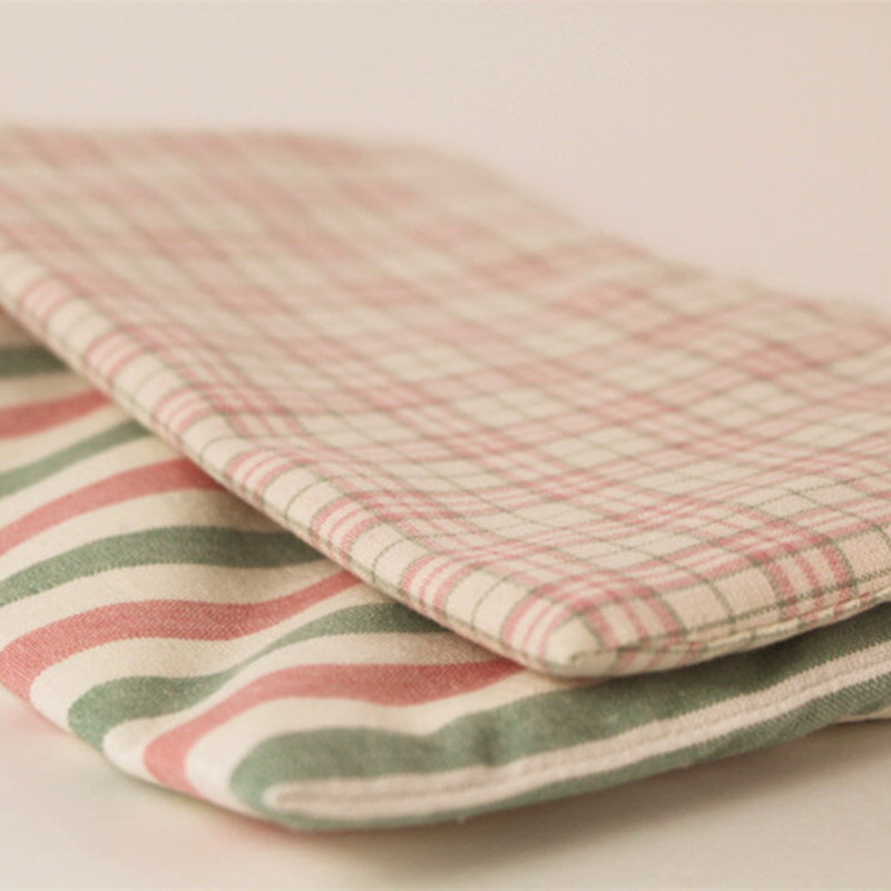 Pink Striped Plaid Phone Bag Small Cloth Bag Purse Zakka Storage Bag Japanese-style Literature And Art Hipster Environmentally F