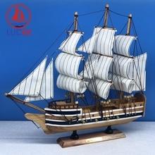 LUCKK 33CM Nautical Ship Miniatures Figurine Classical Ornament Wooden Sailboat Model Retro Wood Crafts Desktop Decor Furniture