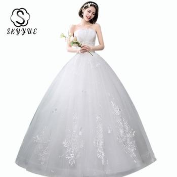 Elegant Lace Wedding Dress Skyyue ER673 Strapless Wedding Dresses Sleeveless Plus Size Bridal Gown Pearls Vestidos De Novia