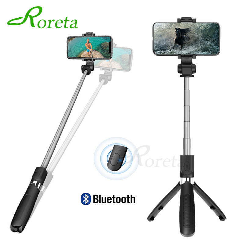 Roreta 3 in 1 Wireless Bluetooth Selfie Stick Handheld Monopod Shutter Remote Foldable Mini Tripod For iPhone XR 8 X 7 6s Plus
