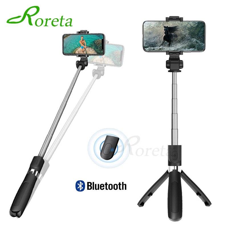 Roreta 3 in 1 Drahtlose Bluetooth Selfie Stick Handheld Monopod Auslöser Fernbedienung Faltbare Mini Stativ Für iPhone XR 8X7 6s Plus