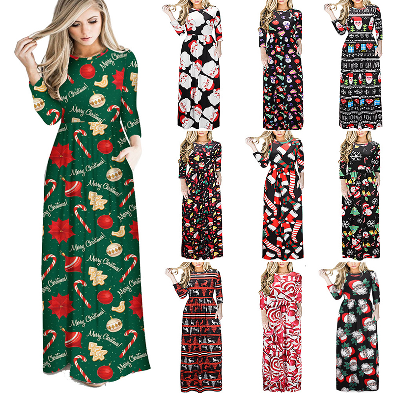 S~3XL Christmas Dress Maternity Print Slim Pregnant Dress Casual Long Sleeve Christmas Tree Snowman Party Pregnancy Dresses
