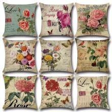 New Style 45cm*45cm Hand-painted Flowers Linen Cushion Cover for Sofa Bed Pillow Case Home Decorative Pillow Cover