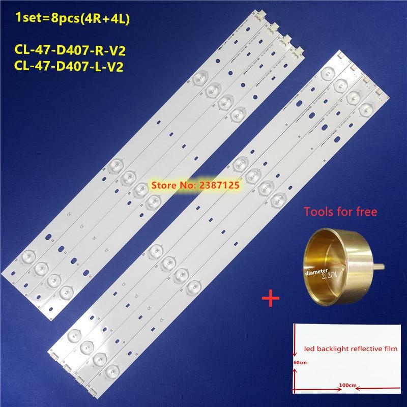 LED Backlight Strips (8pcs) R+L  For Phi Lips CL-47-D407-R-V2 CL-47-D407-L-V2 Replacement For CL-47-D407-R-V4 CL-47-D407-L-V4