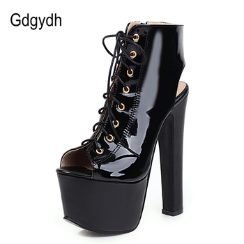 цена Gdgydh Open Toe Women Boots Fashion Super High Heels Shoes For Party Nightclub Patent Leather Fashion Slingback Platform Heels онлайн в 2017 году