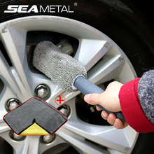 Car Wheel Rim Brush Detailing Cleaning Auto Interior Gap Brush Car Care Washing Tools Accessories With a Thick Microfiber Towel