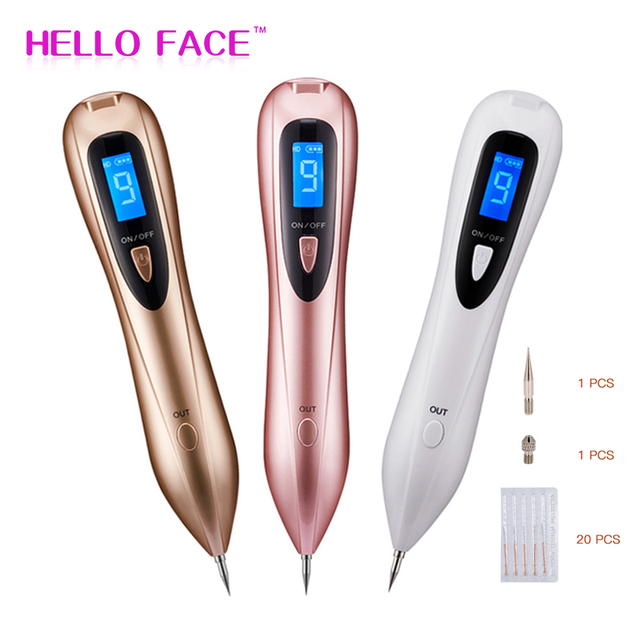Laser Plasma Pen Spot Remover Pen With 20 Needles 9 level LCD Face Skin Dark Mole Removal Machine Wart Tag Tattoo Removal Beauty