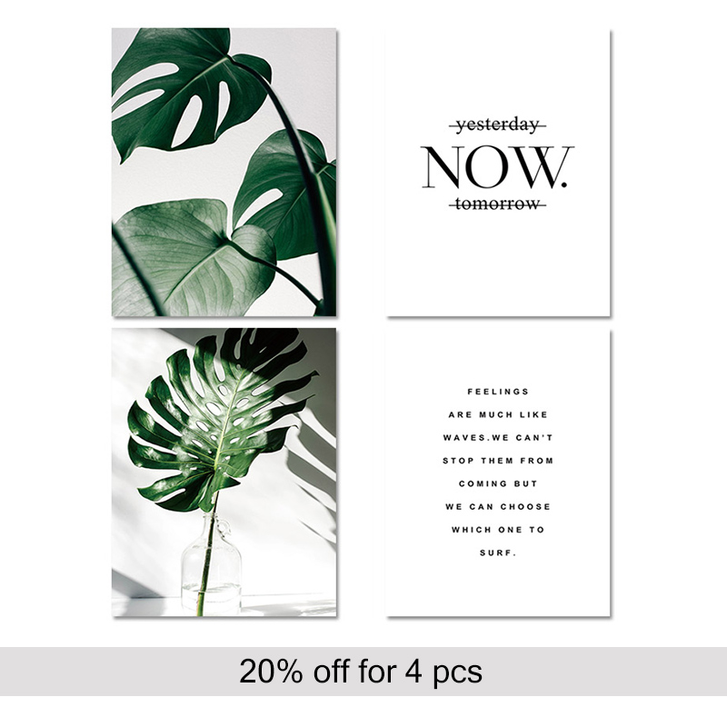 Ha0b471a708454cafb9f74ff94e573993W ART ZONE Nordic Canvas Painting Modern Prints Plant Leaf Art Posters Prints Green Art Wall Pictures Living Room Unframed Poster