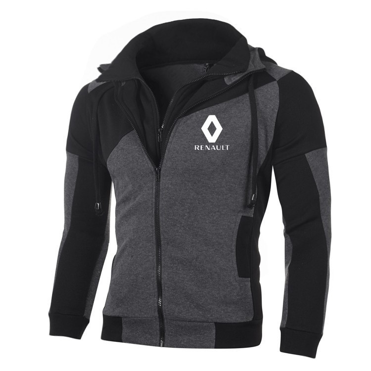 Renault Logo Sweatshirt Cotton Double Zipper Long Sleeve Fleece Casual Hoodies Men Sports Jacket Sweatshirts Cardigan Coat