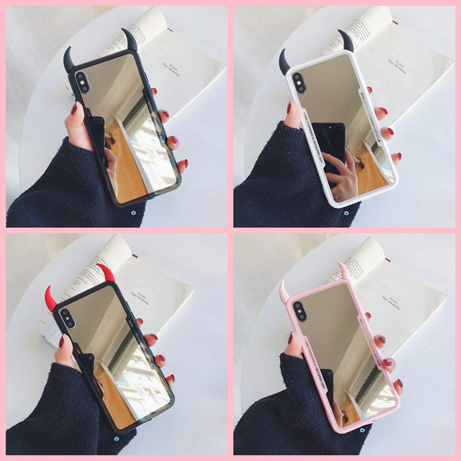 For iPhone 11 Pro Max Case Coque For iPhone XR XS Max Cute 3D Devil Horn Case For iPhone 7 6s 8 Plus Mirror Candy Phone Cover