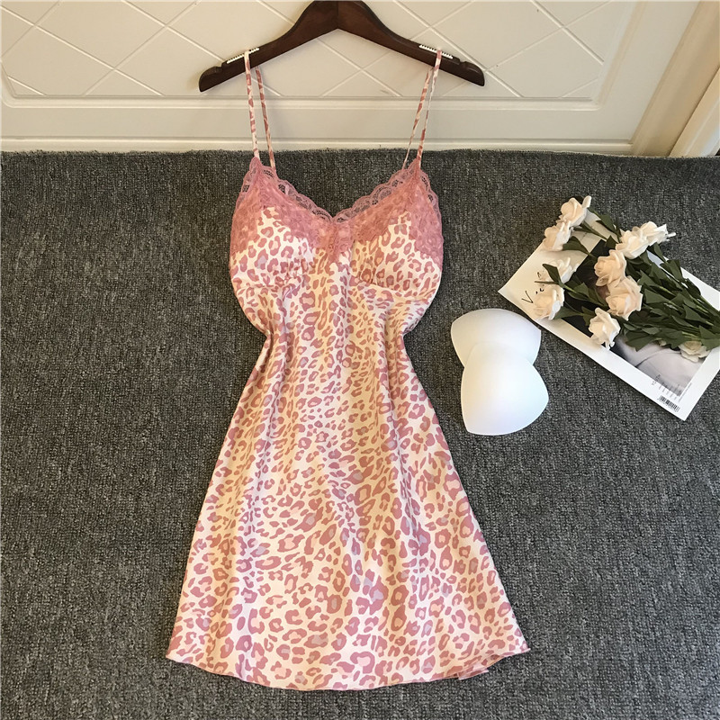 Summer Nightdress Sexy Lace Nightwear Sing Satin Print Homewear Pink Sleepwear Women Thin Nightgowns With Chest Padds