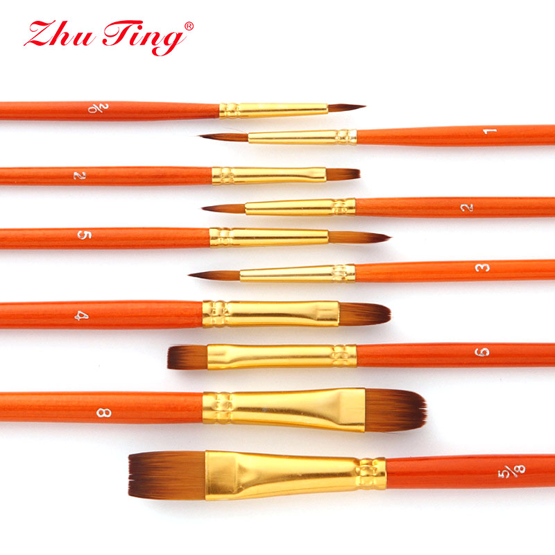 10Pcs/bag Watercolor Gouache Paint Brushes Different Shape Round Pointed Tip Nylon Hair Painting Brush Set Art Supplies