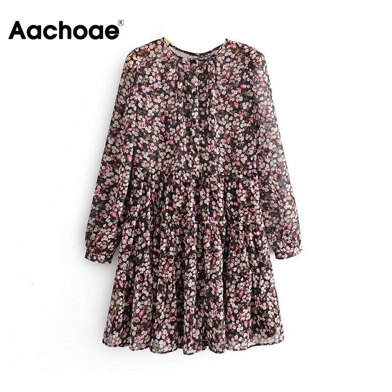 Aachoae Boho Style Floral Print Pleated Dress Long Sleeve Women Mini Dress O Neck Loose Ladies Dresses Beach Sundress Ropa Mujer 1