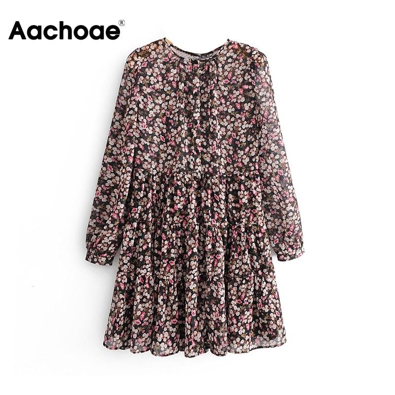 Aachoae-vestido plisado de manga larga para Mujer, Estilo bohemio, estampado Floral, Mini vestido de cuello redondo, vestidos sueltos para dama, Vestido de playa
